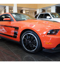 ford mustang 2012 orange coupe boss 302 gasoline 8 cylinders rear wheel drive 6 speed manual 77471
