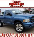 dodge ram 1500 2002 blue pickup truck st gasoline 8 cylinders 4 wheel drive automatic 78666